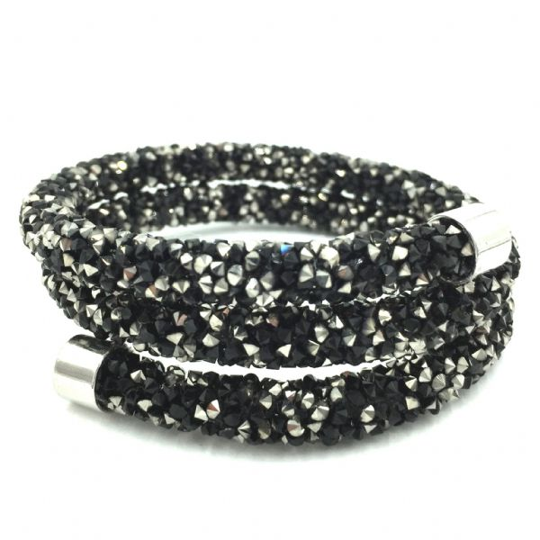 Double sparkle dust cuff bracelet - black / silver